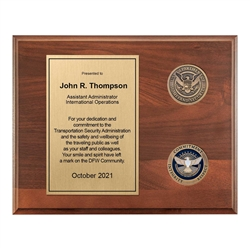 TSA Plaque – 8″x 10″ wide with two 1 3/4″ coins