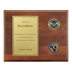 TSA Legacy Plaque – 8″x 10″ wide with two 1 3/4″ coins