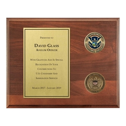 USCIS Plaque – 8″x 10″ wide with two 1 3/4″ coins