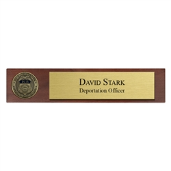 ICE Desk Nameplate with 1 3/4″ coin