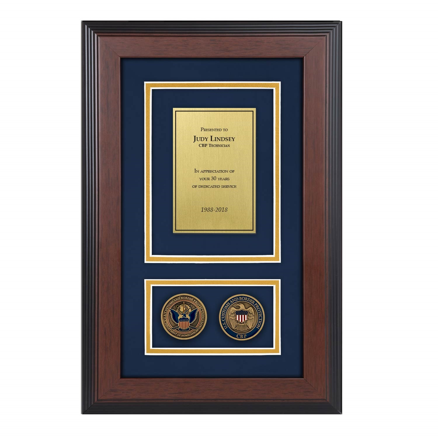 Cbp Shadow Box With Two Coins 226 Triple Matted