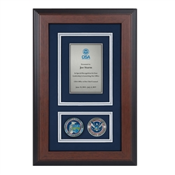 CISA Shadow Box with two coins-Triple Matted