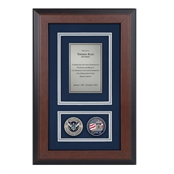 HSI Shadow Box with two coins- Triple- Matted