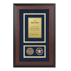 TSA Shadow Box with two coins-Triple-Matted