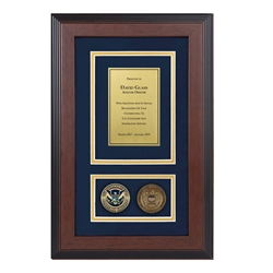 USCIS Shadow Box with two coins-Triple-Matted