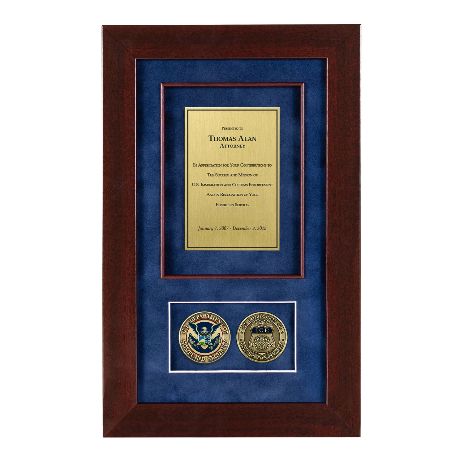 Ice Shadow Box With 2 Coins 226 Cherry Frame