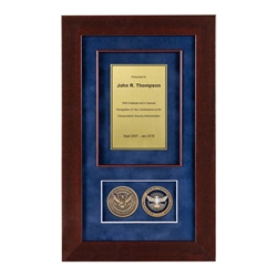 TSA Shadow Box with 2 Coins – Cherry Frame