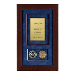 USCIS Shadow Box with 2 Coins – Cherry Frame