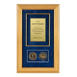 CBP Shadow Box with 2 coins – Gold Frame