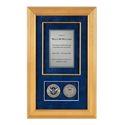 DHS Shadow Box with 2 coins – Gold Frame