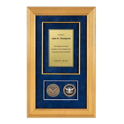TSA Shadow Box with 2 coins – Gold Frame