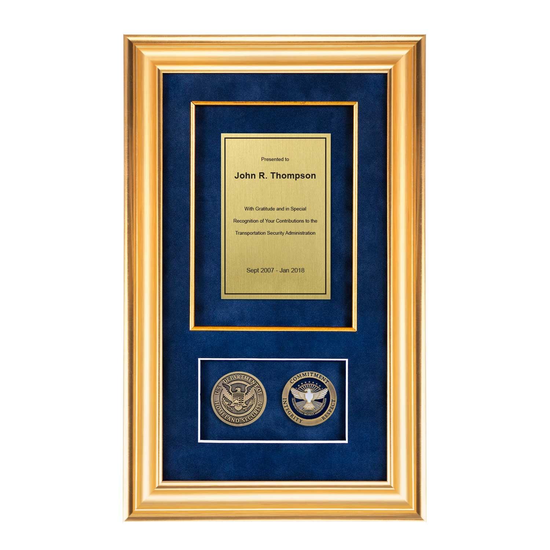 Tsa Shadow Box With 2 Coins 226 Gold Frame