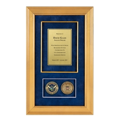 USCIS Shadow Box with 2 coins – Gold Frame