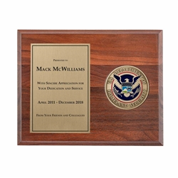 DHS Walnut Medallion Plaque