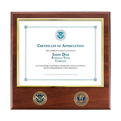 CBP Certificate Plaque with Bronze Coins