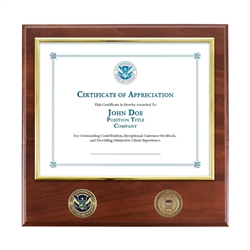 FEMA Certificate Plaque with Bronze Coins