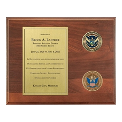 CBP Plaque – 8″x 10″ wide with two 1 3/4″ coins