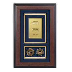 CBP Shadow Box with two coins – Triple Matted
