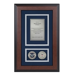 DHS Shadow Box with two coins-Triple Matted