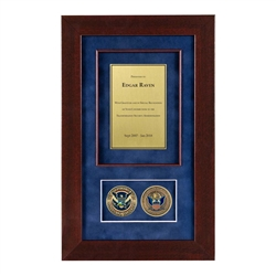 CBP Shadow Box with 2 Coins – Cherry Frame