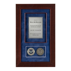 DHS Shadow Box with 2 Coins – Cherry Frame