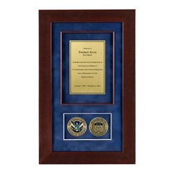 ICE Shadow Box with 2 Coins – Cherry Frame