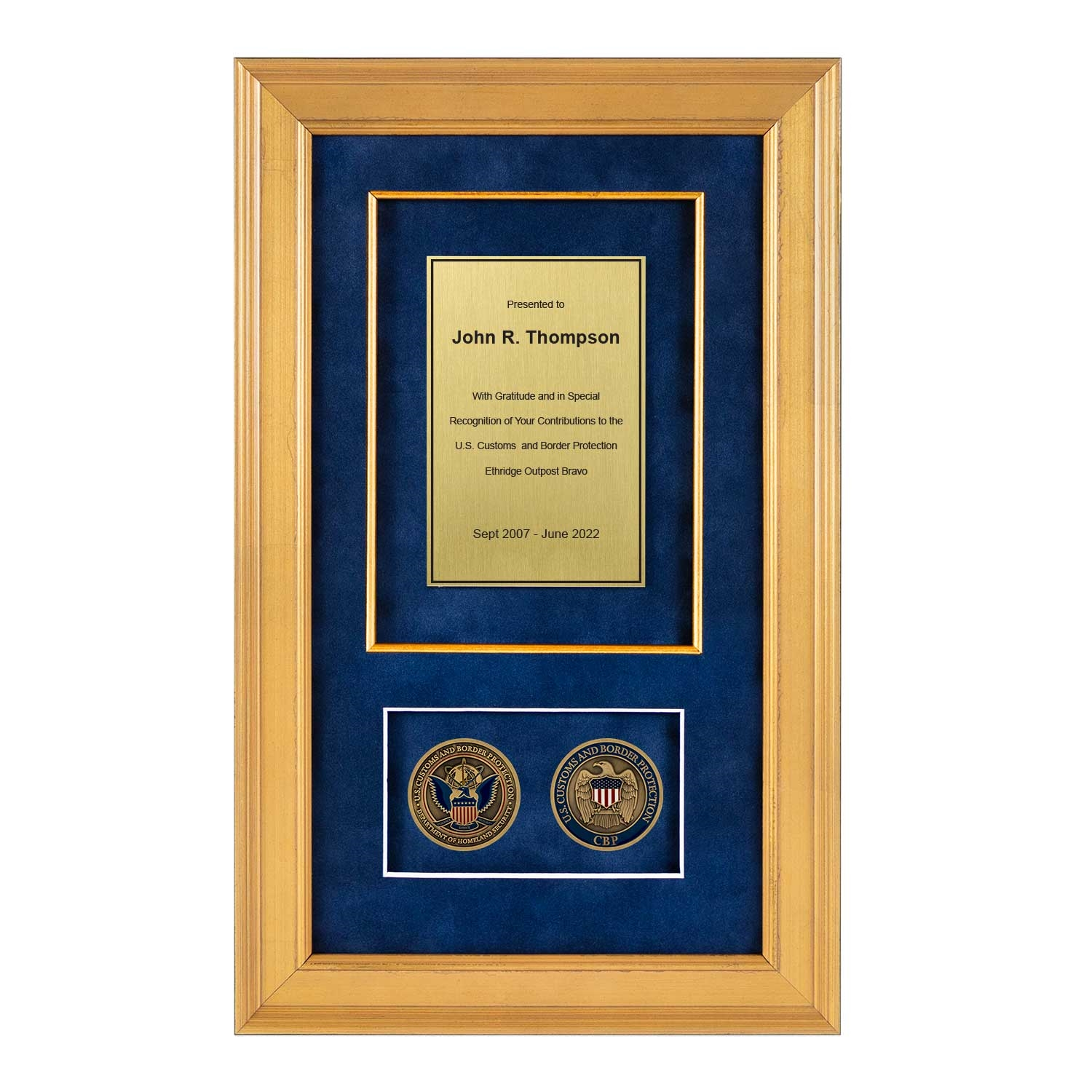 Cbp Shadow Box With 2 Coins 226 Gold Frame