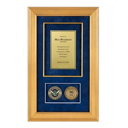 FEMA Shadow Box with 2 Coins – Gold Frame