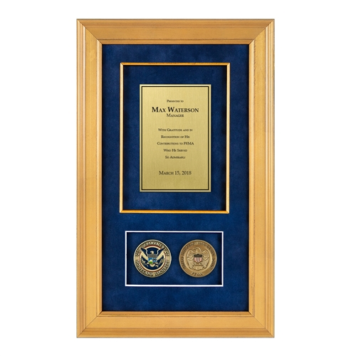 Fema Shadow Box With 2 Coins 226 Gold Frame