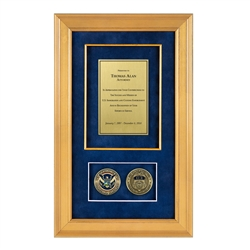 ICE Shadow Box with 2 Coins – Gold Frame