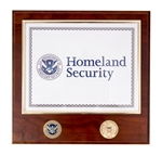 USCIS Certificate Plaque with two Coins