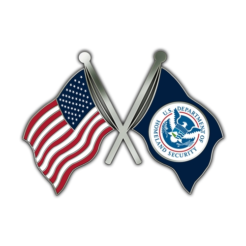 DHS Crossed Flag Lapel Pin